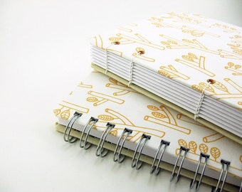 6 x 8 wood branch leaves yellow white fabric, coptic or spiral wire bound, notebook blank journal sketchbook - books & zines