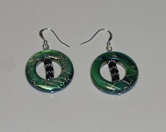 Small Round Green Shell Earrings