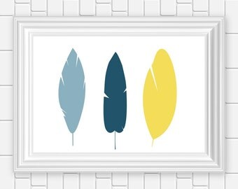 Feathers, Art Print, Tribal, Silhouette, Blue Yellow Printable Wall Art  8 x 10 Instant Download