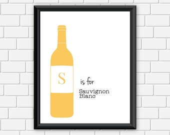 Wine Printable S is for Sauvignon Blanc Art Print Wall Art, 8 x 10 Instant Download Digital File