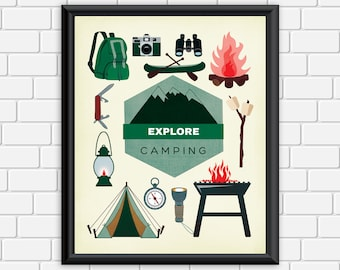 Camping Printable Art Typography Explore Camping Collage Art Print, Outdoors Wall Art 8 x 10 Instant Download Digital File