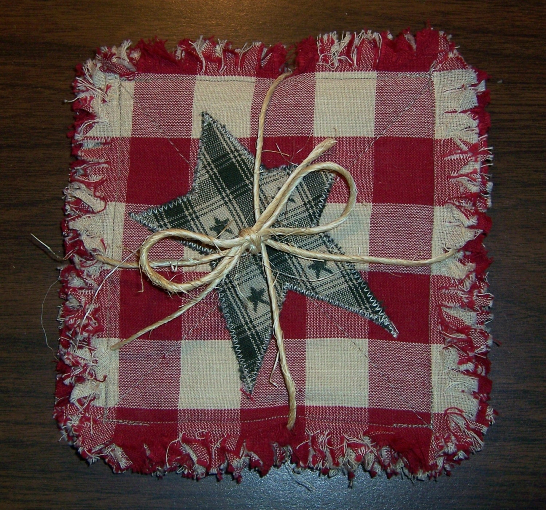 Rag Quilt Coasters/Mug Rugs/Small Candle Mats Set Of 4