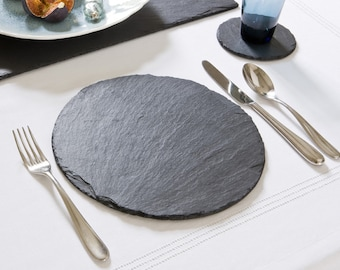 Set of Natural Slate Round Place Mats and Drinks Coasters - Fine Slate Dinner Table Mats & Coasters