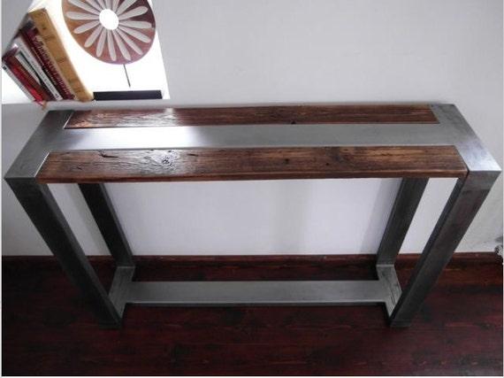 Wood And Metal Table: Rustic Handmade Reclaimed Wood & Steel Industrial Console