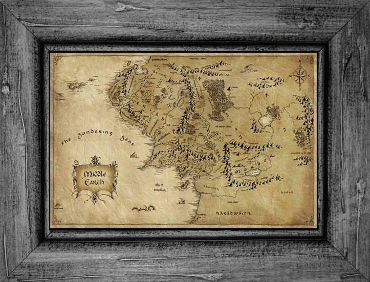 Middle Earth Map Lord Of The Rings The Hobbit Poster Print