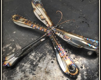 Large Dragonfly Sculpture, Handmade with Stainless Steel flatware , Lots of detail