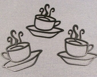 Set of 3 Laser Cut Wood COFFEE CUPS Wall Art Decor Very Cute