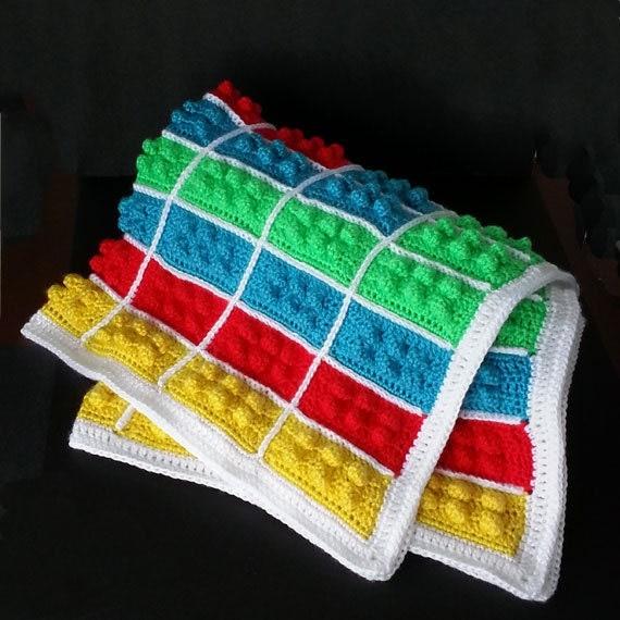 Crochet Lego Blanket : Crochet baby Lego blanket. Baby afghan. Baby boy. Baby girl. Handmade ...