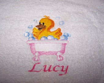 Personalised embroidered   bath towel Cute Duck in a pink bath (100% cotton)