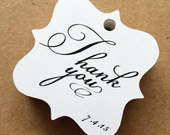 Custom printed thank you tag wedding tag with date gift tag favor tag