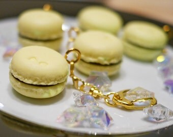 Light Yellow Macarons Charms with Keychain