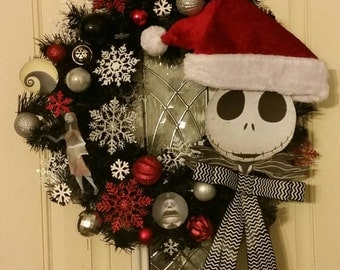 Custom Jack Skellington Nightmare Before Christmas Wreath