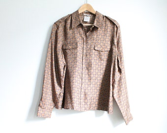 Vintage Cerutti 1881 Abstract Tribal Print Silk Blouse SIZE S/M