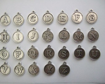 26pcs Antique Silver Letter Charm 12x2mm double side