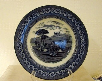 Brown, Westhead and Moore (BWM&Co) Soup Plates, Set of 6, Byzantium Pattern, Blue and White