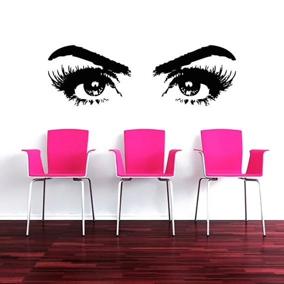 Makeup wall decal vinyl sticker decals art by trendywalldecals - Decoration mural salon ...
