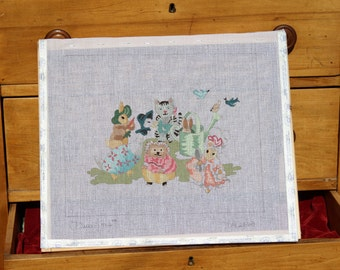 Animal Friends, Hand Painted Stretched Needlepoint Canvas on Wooden Frame