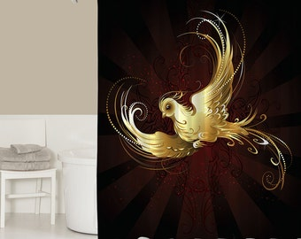 Popular items for gold shower curtain on etsy for Red and gold bathroom accessories