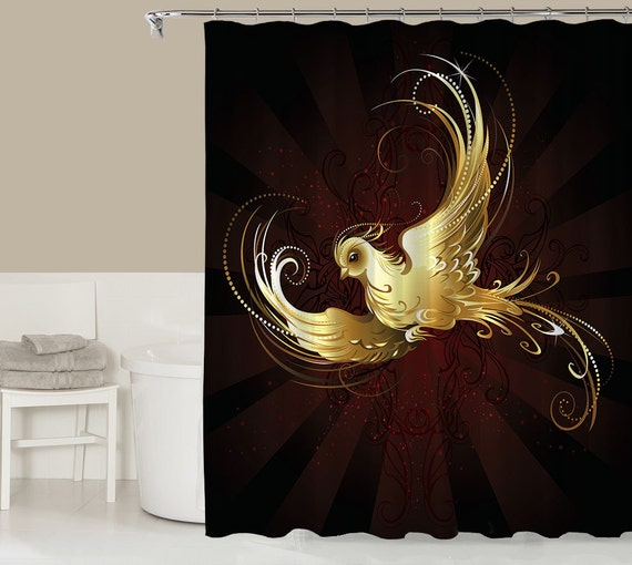 Items similar to fantasy shower curtain contemporary for Red and gold bathroom accessories