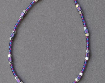 Blue and Purple Beaded Anklet