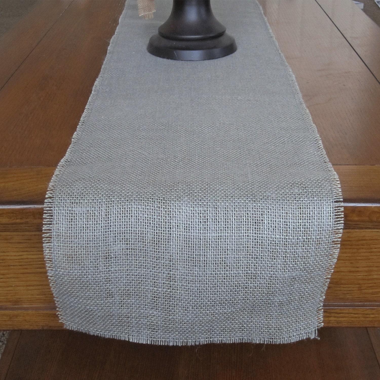 Gray Burlap Table Runner Wedding Decor Home Decor