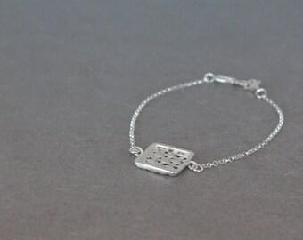 Geometric Bracelet, Square Bracelet, Delicate Silver Bracelet, Sterling Silver Dainty Bracelet