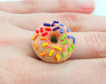 Adjustable Doughnut Ring with Rainbow Sprinkles