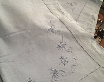 two pillowcases sheet in blue linen