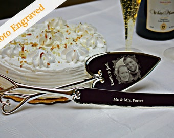 Personalized - Wedding Cake Knife & Server Set - Photo Engraved - .999 Fine Silver Inlay - Engraved