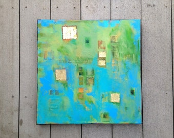 """Contemporary Modern Art - an original mixed-media abstract painting on stretched canvas 18""""x18"""". Inspired by Ireland. Ready to hang!"""