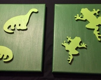 Children's Green Dinosour and Frog Wall Hanging Room Decor Handmade