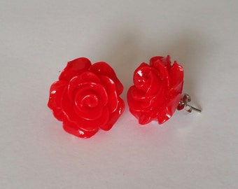 Red Rose Post Earrings, Red Flower Earrings, Rose Earrings, June Flower, Summer Jewelry, Rose Studs, Gift for Her, Flower Child Jewlery