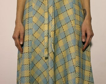 Vintage Plaid Wool Spring Pastel Skirt