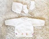 Vintage - Baby White Sweater Knit Cardigan, Booties, and Bonnet Set (Size 0-6M)