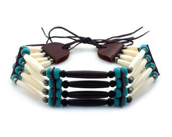 Handmade Native Traditional Tribal 4 Row Buffalo Bone Hairpipe Choker Necklace