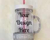 CUSTOM 20oz BPA Free Glitter Dipped Handled Acrylic Mason Jar Mug // Custom Glitter Mason Jar Mug // Glitter Mug // Glitter Dipped