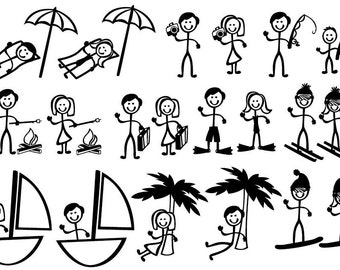 Stick Figure People Family (Vacation Themed) - Vector Art SVG Files
