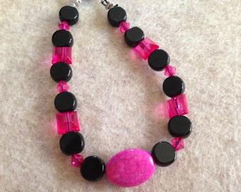 Pink and Black beaded bracelet