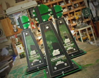 Custom Created Trophies made from Metal Gaming Tournament LED Lighting