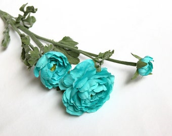 WHOLESALE (6) 35 Inch Silk Ranunculus Spray in Turquoise - silk flowers, artificial flowers