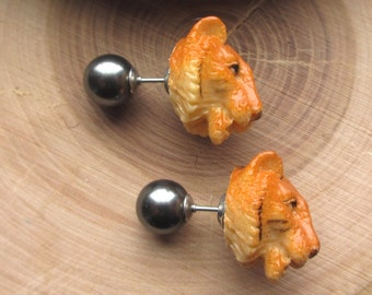 Tigers Tribal Pearl Double Sided Earrings Animal Cat Fake