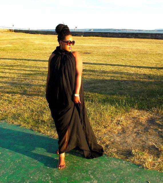 Curvyswan diva swing black chiffon  maxi dress