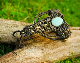 Bohemian Macramé ring Bracelet with turquoise gemstone