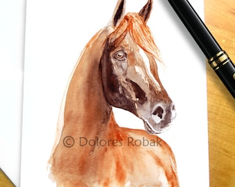 Arabian Horse Card, Horse birthday card for girl, Chestnut Arabian, Red Arabian Horse Blank horse card Horse lover card, Horse greeting card