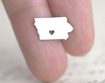 Tiny Iowa Studs, I heart Iowa, Iowa Map Charm, State Pride Jewelry, State Silhouette Earrings, State of Iowa