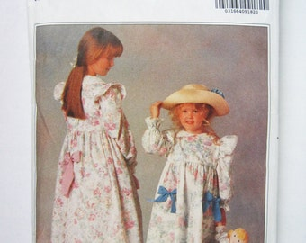 Vintage Butterick 5198 Sewing Pattern – Holly Hobbie Children's Girl's Dress, Petticoat, Pants and Doll's Clothes – Sizes 2 3 4 5 6