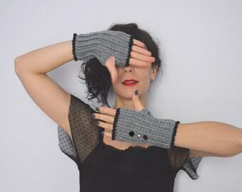 Crochet Fingerless Gloves. Grey Fingerless Mittens. Wrist Warmers. Arm Warmer Fingerless Glove. Women's  Winter Accessories