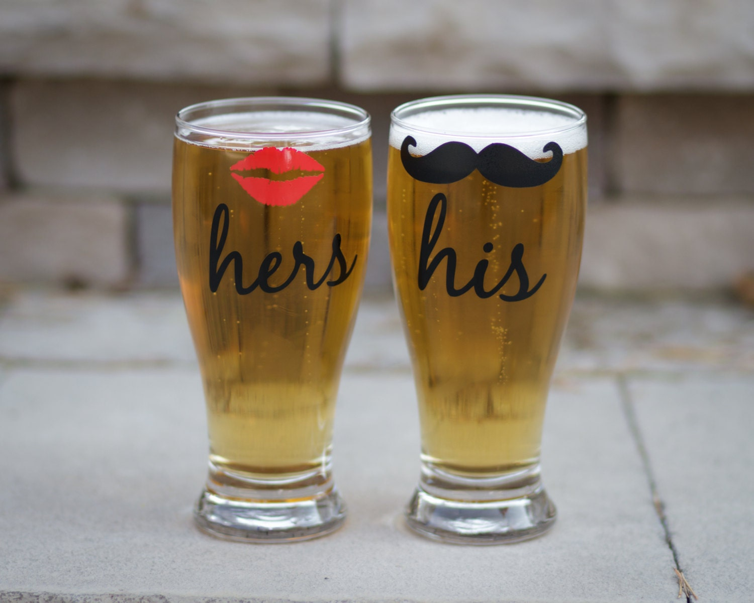 his and hers beer glasses 2 with lips and mustache pilsner