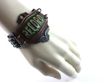 "GAULTIER * Gorgeous vintage enamel bracelet ""RECORD"""