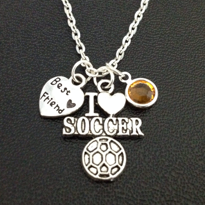 best friend soccer necklace with birthstone sports jewelry
